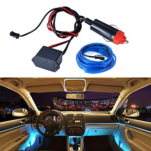LED Strip Lights for Cars Interior,EL Wire Blue 6.56ft Decorative Light for Car Motorcycle Trucks,Atmosphere Neon Light for Car Styling DIY