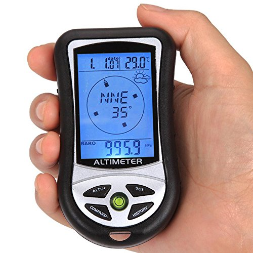 sixsun 8 In 1 Digital LCD Compass Altimeter Barometer Thermo Temperature Calendar Clock (style1) (Cardinal Thermometer Clock)