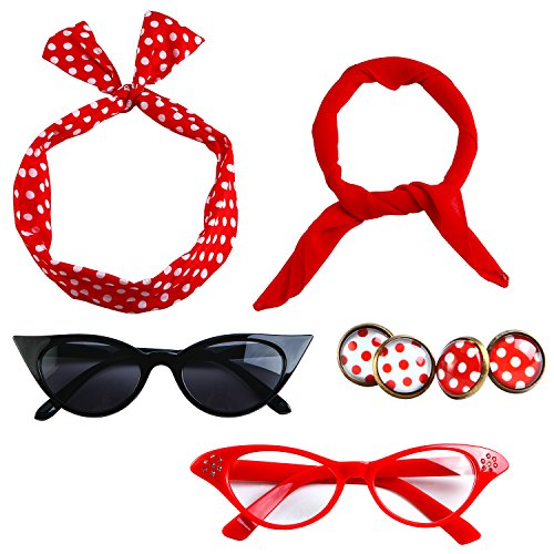 Aneco 6 Pack 50s Set Chiffon Scarf Cat Eye Glasses Bandana Tie Headband Earrings(Red)¡­