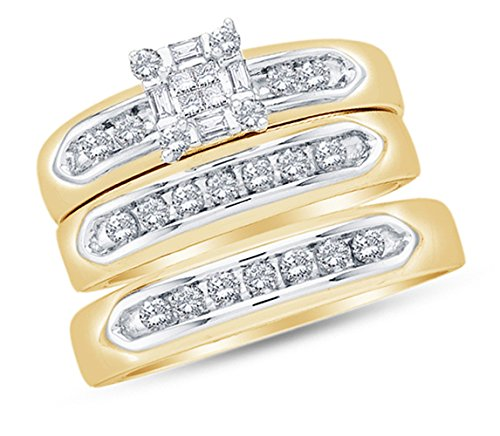 - Sizes - L = 7, M = 10 - 14K Yellow Two Tone Gold Princess Cut, Round & Baguette Diamond Trio Three Ring Set - Matching His and Hers Engagement Ring & Wedding Bands - Invisible & Channel Set Square Princess Center Setting Shape (1/2 cttw.) - Please use drop down menu to select your desired ring sizes