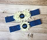 Police Officer's Wife Ivory Custom Badge number Blue Lace Wedding Garter Police Sheriff Thin Blue Line
