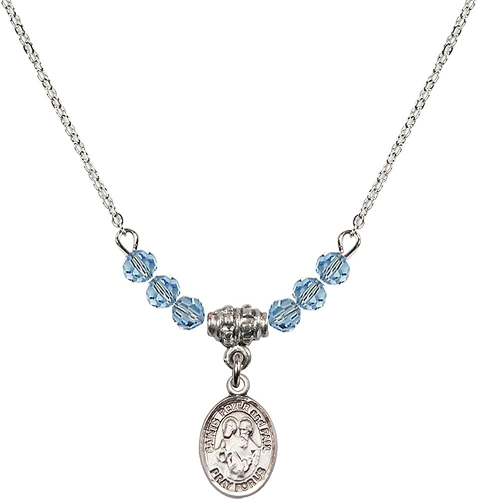 18-Inch Rhodium Plated Necklace with 4mm Aqua Birthstone Beads and Sterling Silver Saints Peter /& Paul Charm.