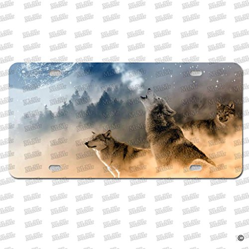 Howling Wolf Plate - MsMr License Plate Cover Wolf Howling At The Moon Front License Plate Cover Decorative Car Auto Tag Sign 6x12 Inch