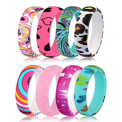 AYARUN Bohemian Pesley Silicone Wedding Band for Women 8 Rings Pack Flexible Comfortable Fit Rubber Rings Size 10