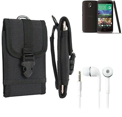 bolsa del cinturón / funda para HTC Desire 526G Dual SIM, negro + Auriculares | caja del teléfono cubierta protectora bolso - K-S-Trade (TM)