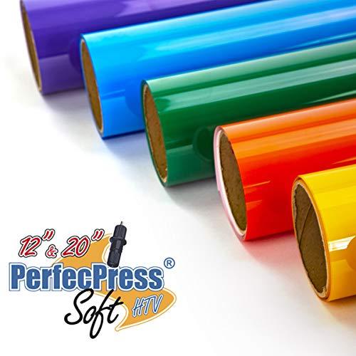 Bonus Bundle - Heat Transfer Vinyl 23 Piece Bonus Bundle Includes 21 - 12 x 10 Inch Assorted Color Premium PerfecPress HTV Sheets for Silhouette Cameo, Cricut and Other Cutters
