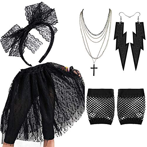 80's Madonna Pop Hallowwen Accessories for Women - Lace Skirt,Lace Headband Madonna Cross Necklace Earring Gloves for 80s Costumes,BK