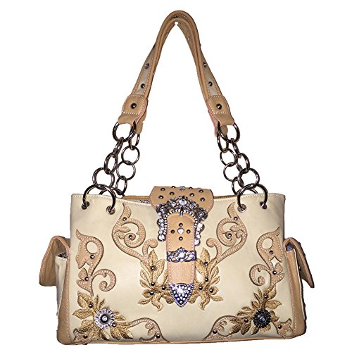 2015 New Style Rhinestone Buckle Concho Concealed Carry Embroidered Leather Shoulder Handbag Purse and Matching Messenger Bag, Wallet in Beige (CC Beige Handbag)