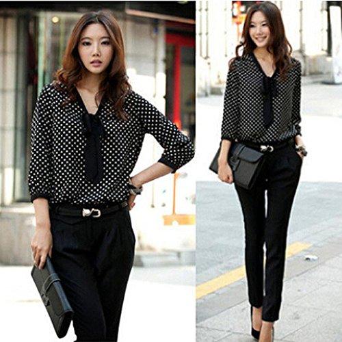 Pois Fille Papillon Noir Top Femme Taille shirt Angelof Noeud Cravate Chemisier Blouse Mousseline T Ado À De Grande wzqPRxS