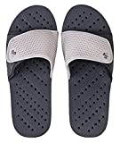 Showaflops Mens' Antimicrobial Shower & Water Sandals for Pool, Beach, Dorm and Gym - Adjustable Colorblock Slide (Black/Grey, Mens 13/14)