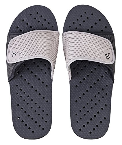Showaflops Mens' Antimicrobial Shower & Water Sandals for Pool, Beach, Dorm and Gym - Adjustable Colorblock Slide (Black/Grey, Mens 13/14) by Showaflops