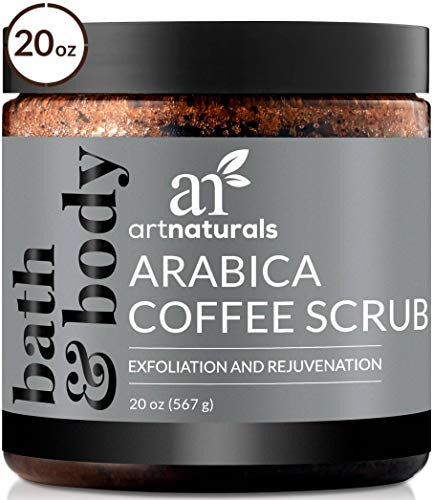 ArtNaturals Arabica Coffee Body Scrub (20 Oz / 567g) - Exfoliating Facial Treatment for Varicose Veins, Cellulite, Stretch Marks Spider Vein - Deep Skin, Butt, legs and Face Sugar Exfoliator with Caffeine ()