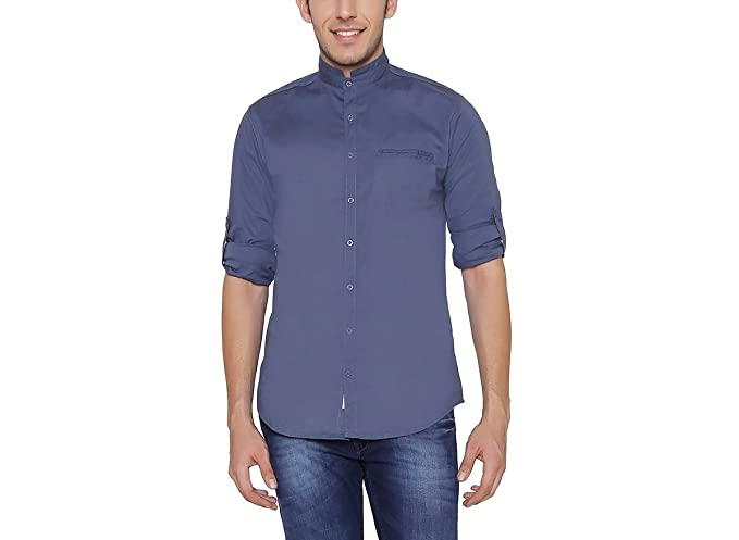 a6f8aebd04d Image Unavailable. Image not available for. Colour  Nick   Jess Mens Blue Mandarin  Collared Cotton Lycra Slim Fit Shirt