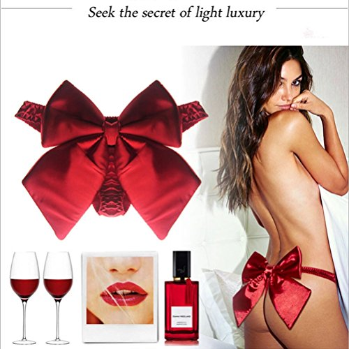 Women's Sexy Lingerie Exquisite Red Silky Bow T-Back G-String Thong Panties