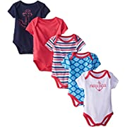 Nautica Baby-Girls Newborn 5 Pack Blue Red Bodysuit, Assorted, 0-3 Months