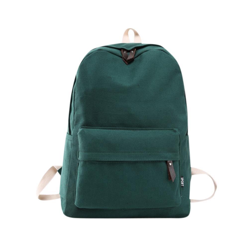 Cinhent Backpack Women Girl Canvas Preppy Campus Double Shoulder Light Bookbags (Green)