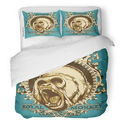 Semtomn Decor Duvet Cover Set Full/Queen Size Gorilla Royal Monkey Angry King Animal Face Ape Scary 3 Piece Brushed Microfiber Fabric Print Bedding Set -