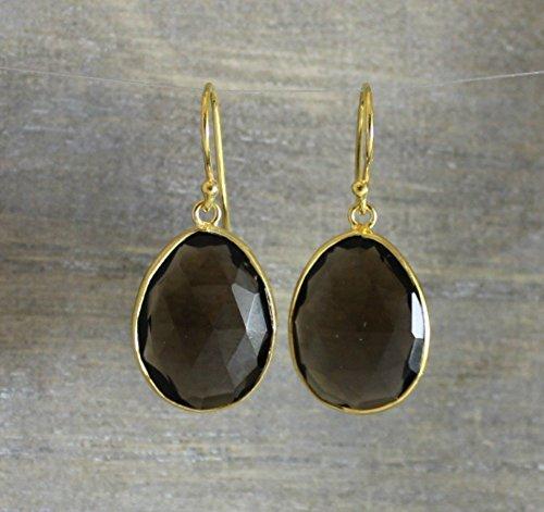 Smoky Quartz Organic Shape Gold Plated Sterling Silver Earrings (Smoky Vermeil Earrings)