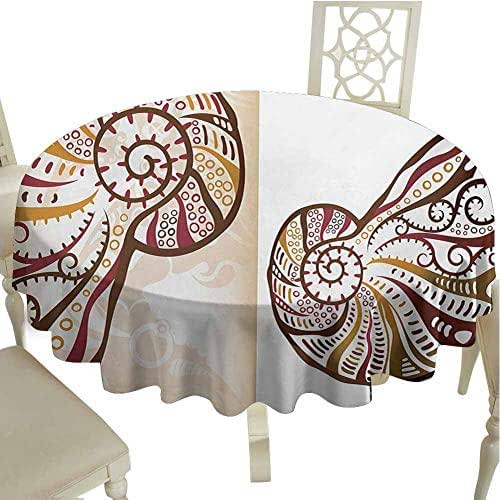Flyerer Seashells Table Cover Boho Seashells Pattern Divided Two Part Effects Hear The Ocean Creature Reusable Round Tablecloth Diameter 60