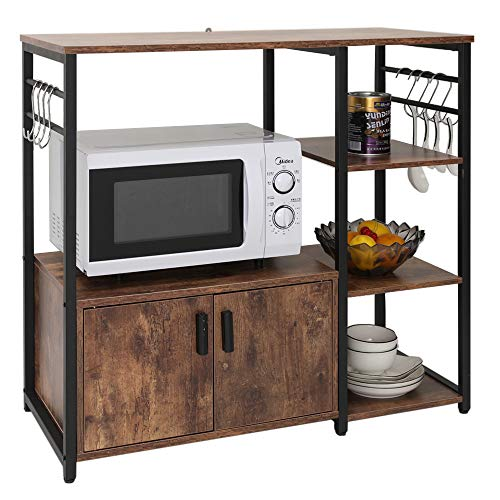 Iwell Kitchen Baker's Rack with 1 Cabinet and 8 Hooks, 4-Tiers Kitchen Storage Cart Table, Microwave Oven Stand, Utility Storage Cabinet with Metal Frame, Rustic Brown ZWJ001F (Microwave Stand With Storage)