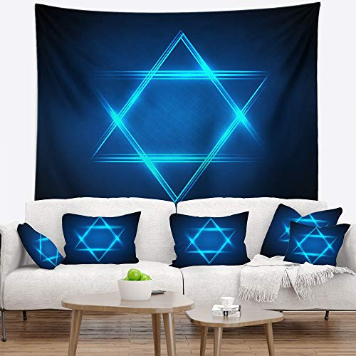 Designart TAP7877-60-50 'Neon Star of David' Abstract Tapestry Blanket Décor Wall Art for Home and Office, Large: 60 in. x 50 in, Created on Lightweight Polyester Fabric