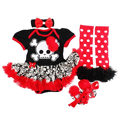 Baby Girls Halloween Romper Dress Outfits Clothes (Red, S:3-6Months) (Red Dress Halloween Outfits)