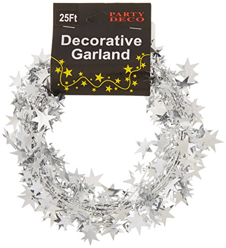PARTY DECO Foil Star Garland, 25', Silver -