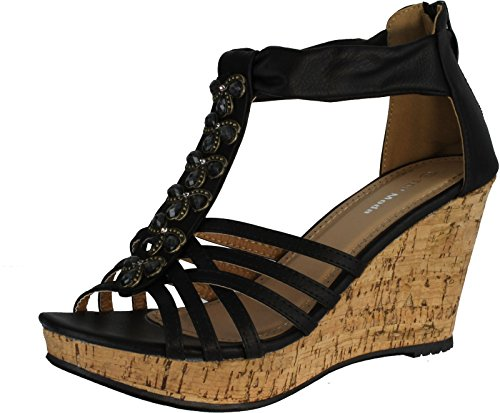 Top Moda Ds-6 Wedges Sandals, Black Pu, 9
