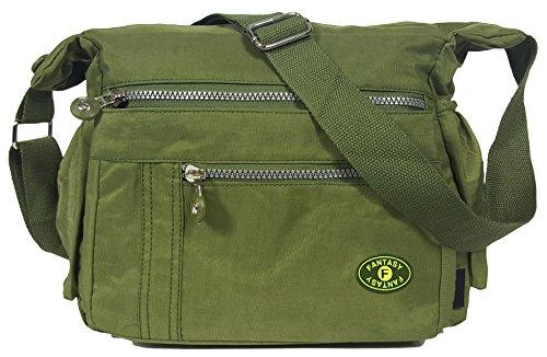 GFM de en Sac Sac Olive Style 6 femme Poches multiples sac Messenger Corps pour bandoulière léger Croix à Green tissu R0qwrRC