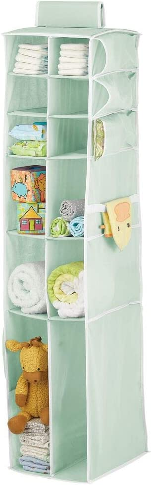 mDesign Long Soft Fabric Over Closet Rod Hanging Storage Organizer with 12 Divided Shelves, Side Pockets for Child/Kids Room or Nursery, Store Diapers, Wipes, Lotions, Toys - Mint/White