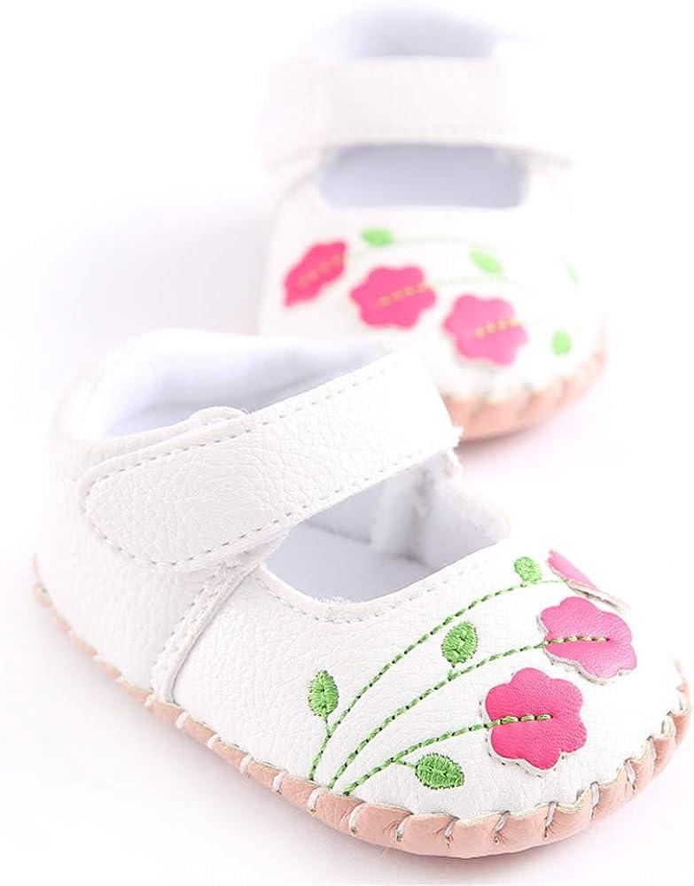   Meckior Infant Baby Girls Boys Handmade Princess Flats Toddler First Walkers Soft PU Leather Non-Slip Crib Wedding Dress Shoes   Sandals