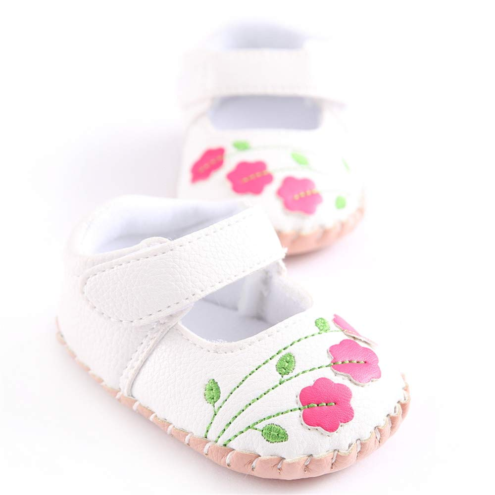 Morbido Infant Baby Girls Mary Jane Flats Soft Sole Non-Slip Bow Knot Princess Wedding Dress Shoes Toddler Crib Shoes