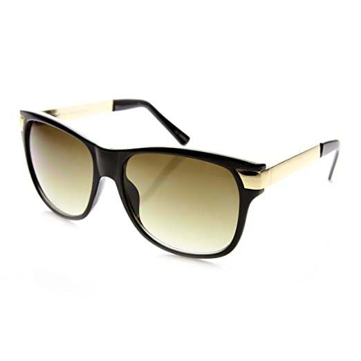 d58a7dc1ae Premium High Fashion Metal Temple Mod Horn Rimmed Sunglasses (Black-Gold  Grey-Gradient