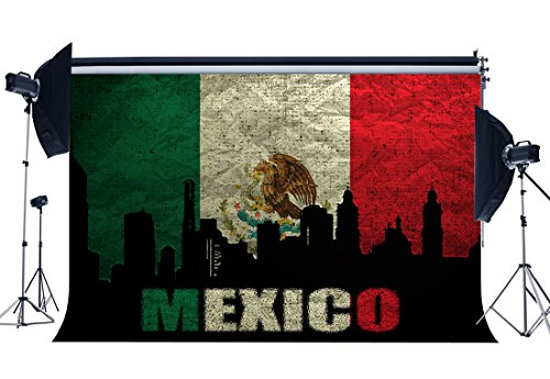(Gladbuy Vinyl 9X6FT Mexican Flag Backdrop Mexico Backdrops Skyscraper Shabby Eagle Photography Background for Wishing Independence and Hope Peace Religion National Unity Photo Studio Props KX634)