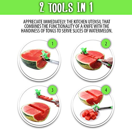 EZ Melon Stainless Steel Watermelon Slicer - Melon and Cantaloupe Fruit Slicer, Carver, Cutter, Knife - Carving and Cutting Tools for Home, Professional Restaurant Chefs - Easy Grip Kitchen Gadgets by Lux&Max (Image #1)