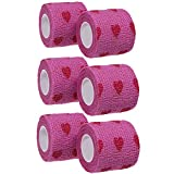 GouGou Self-Adhesive Tape Bandage Rolls Non-woven Ventilate Flexible Wrap for Soccer Basketball Sports Ankle Waist Knee Finger Elbow Ankle Support Tape 6PCS 2 in X 14.7 ft (Purple&True heart)
