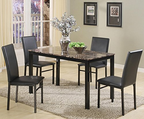 Aiden 5-Pc Dining Table Set w/ Faux Granite Top by Crown