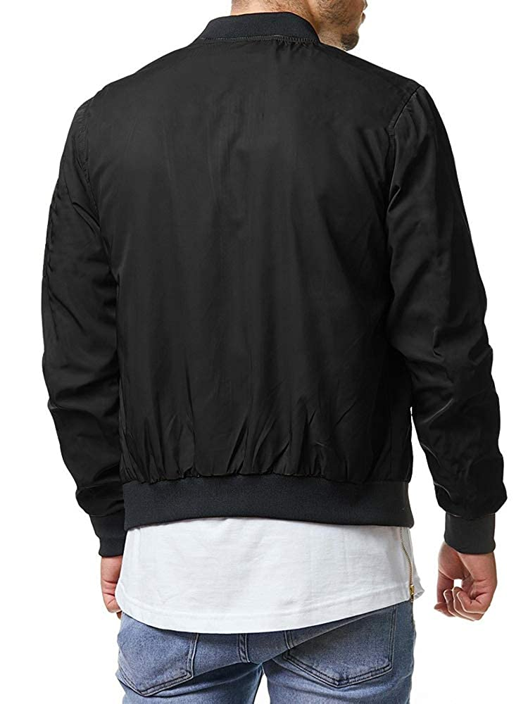 Bbalizko Mens Lightweight Bomber Jackets Varsity Zip Up Quilted Baseball Fall Coats with Pockets