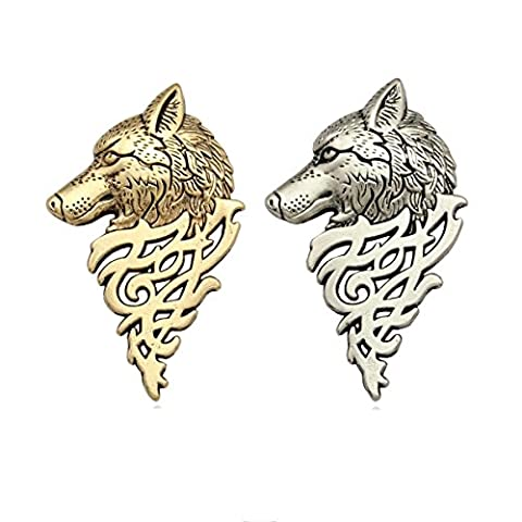 2pcs Antique Punk Wolf Head Coyote Brooch Pin Badge Sweater Shawl Scarf Buckle Costume Lapel Tack (Wedgewood Pendant)