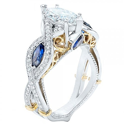 FENDINA Women's Infinity Rings Vintage Pear Cut CZ Twisting Cross Shank Bridal Engagement Wedding Halo Promise Eternity Rings (gold-plated-base-blue, 7) (Two Tone Gold Cross Ring)