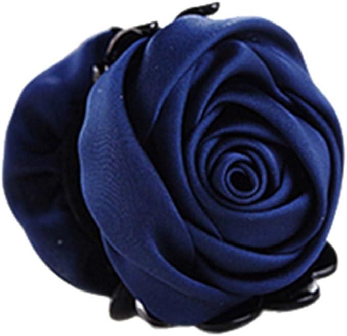 Kanzashi Style Paire de fait à la main Fille Fleur Rose clips cheveux ou Bobbles
