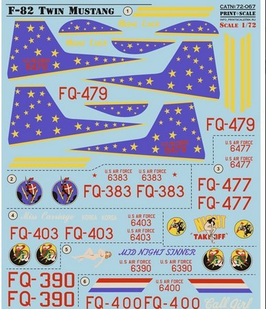 F-82 Twin Mustang Print Scale 72-067 for sale  Delivered anywhere in USA
