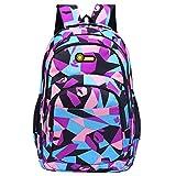 Enjocho Teenage Bookbag,Super Popular Boys & Girls Camouflage Print Backpack for School,Summer Camp,Travel and Outdoors (Purple)