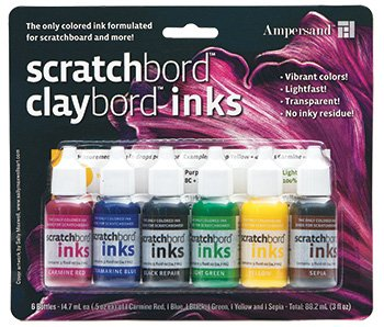 Ampersand Claybord/Scratchbord Ink Set Of 6, Multi,  by Ampersand