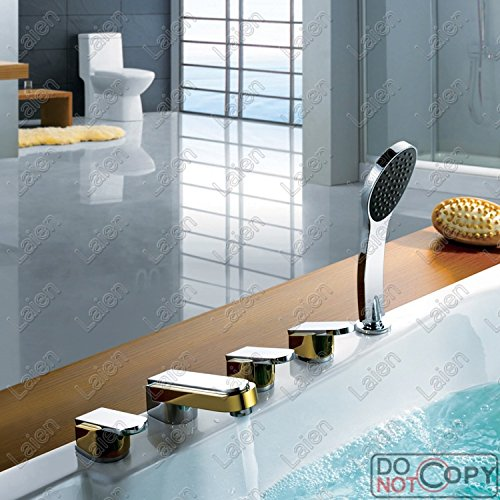Furesnts Modern home kitchen and Bathroom Sink Taps 5 Piece Tap All Bronze Chrome Bath Taps detachable jacuzzi bathtub Mixer Bathroom Sink Taps,(Standard G 1/2 universal hose ports)