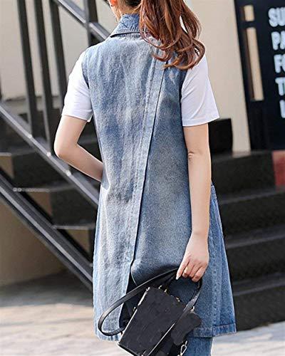 Casual Style Primaverile Elegante Smanicato Jeans Button Di Cappotto XzfqnxRgw