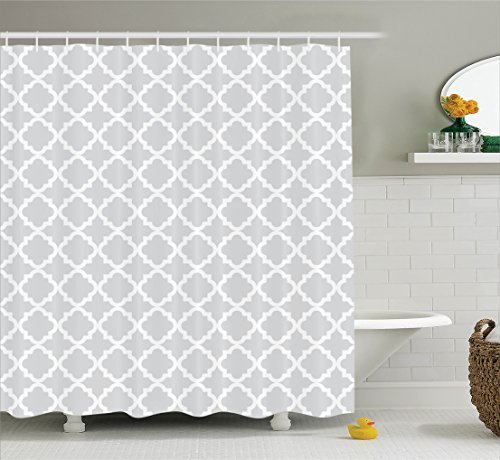 Ambesonne Country Decorations Collection, Antique Pattern Geometric Curves Ogee Minimalist Design, Polyester Fabric Bathroom Shower Curtain Set with Hooks, Platinum and White -