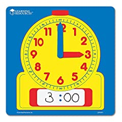"""Heavy-duty laminated clock features movable plastic hands and a place to write the digital time. Demonstration Clock measures 12"""" square."""