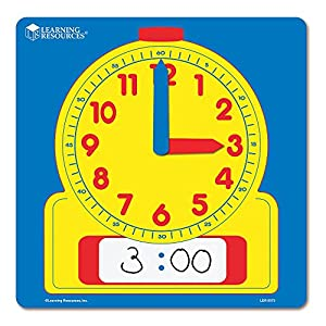 Learning Resources Write & Wipe Demonstration Clock,...
