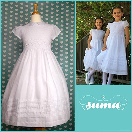 Smocked First Communion Dress - Suma Smocked White Cotton First Communion Dress (8)